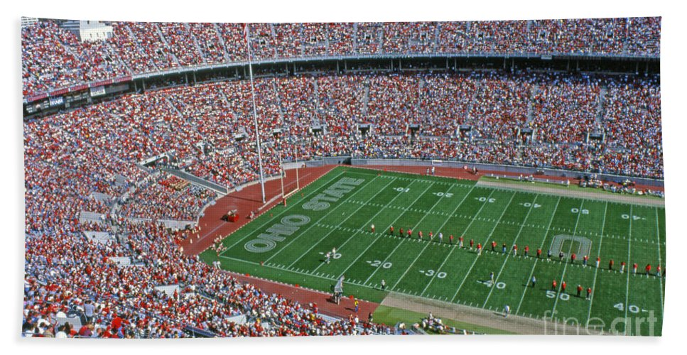 Osu Hand Towel featuring the photograph 36l456 Osu Stadium by Ohio Stock Photography