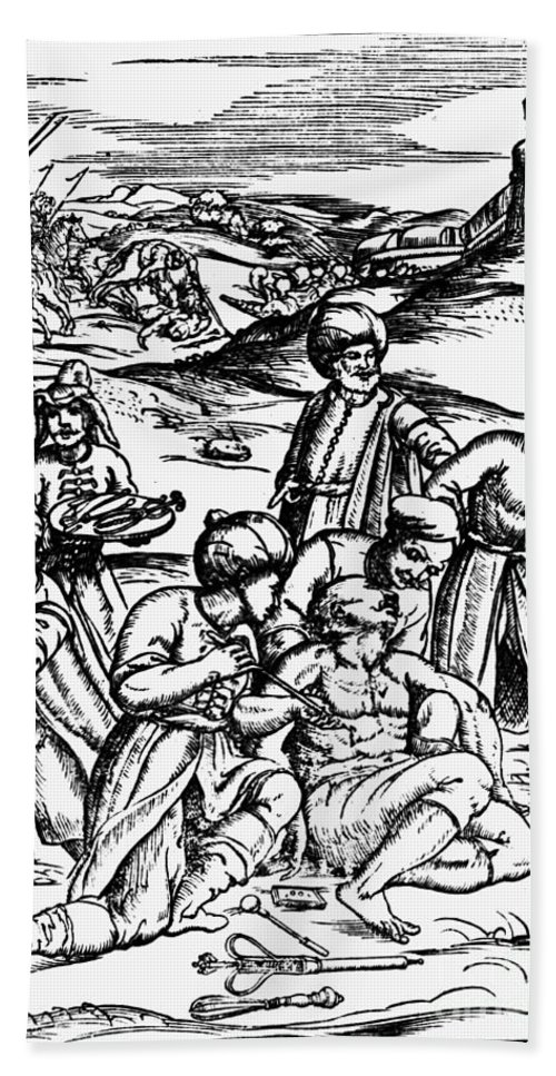 1573 Bath Sheet featuring the photograph Ottoman Surgery, 1573 by Granger