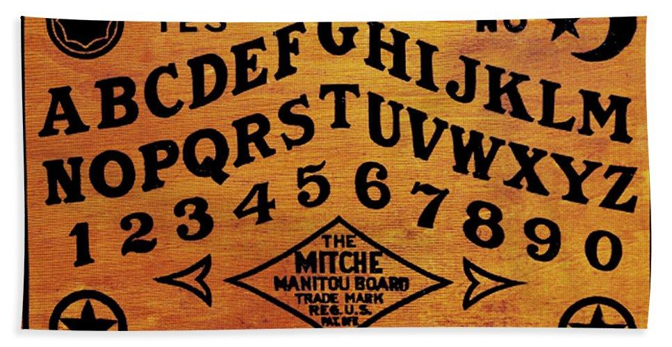 Ouija Bath Sheet featuring the painting Ouija Board 1 by Tony Rubino