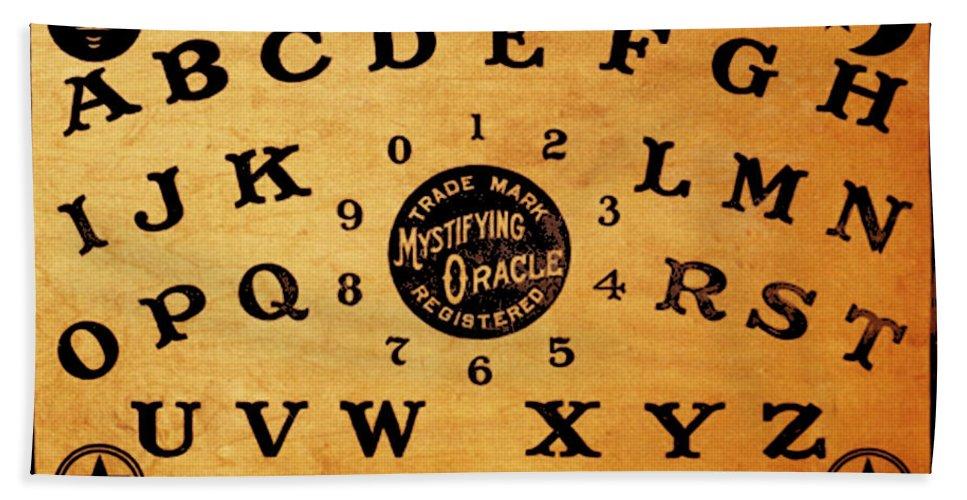 Ouija Bath Sheet featuring the painting Ouija Board 3 by Tony Rubino