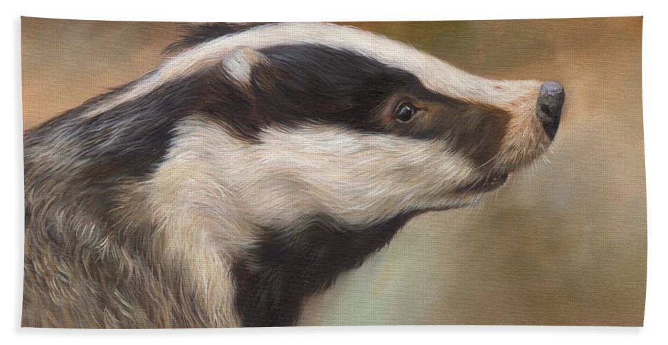 Badger Hand Towel featuring the painting Our Friend The Badger by David Stribbling