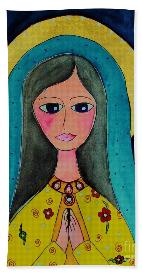 Mary Bath Sheet featuring the painting Our Lady by Melinda Etzold