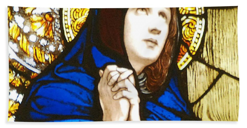 Mary Bath Towel featuring the photograph Our Lady Of Sorrows In Stained Glass by Philip Ralley