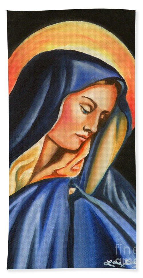 Our Lady Of Sorrows Bath Sheet featuring the painting Our Lady Of Sorrows by Lora Duguay
