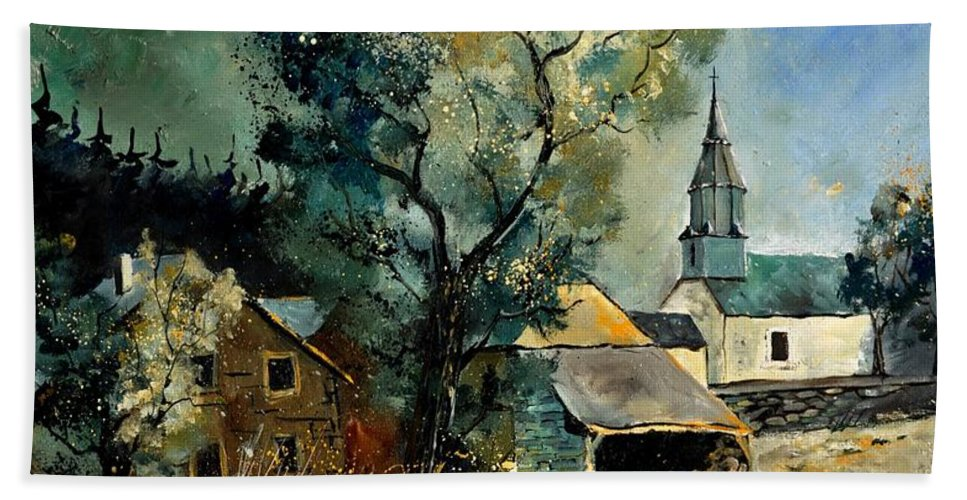 Landscape Bath Sheet featuring the painting Our Opont 78 by Pol Ledent