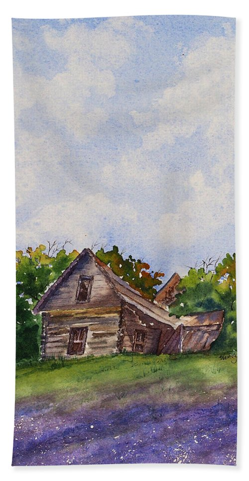 Old Wooden Home Bath Sheet featuring the painting Our Prairie Home by Wendy Provins