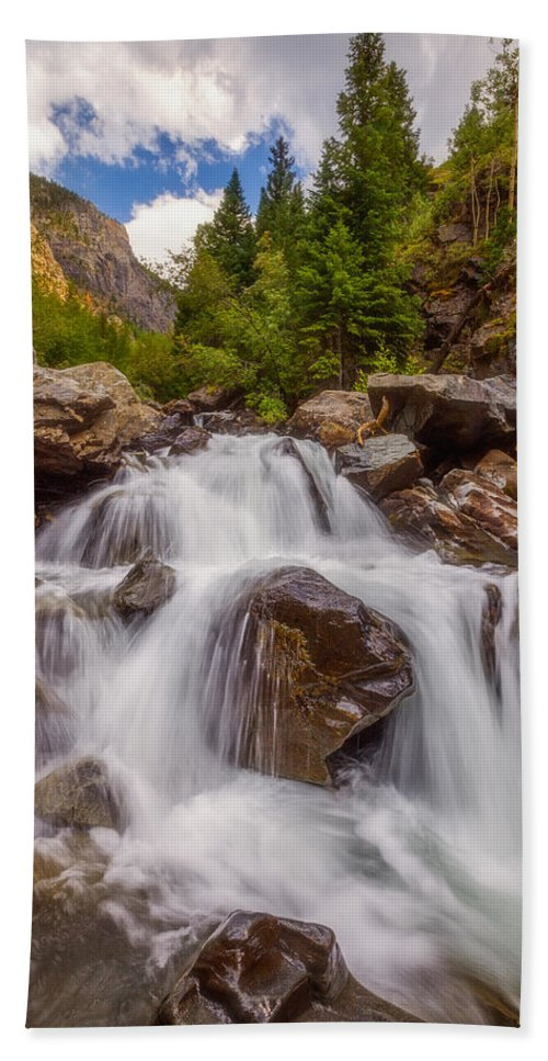 Waterfall Bath Towel featuring the photograph Ouray Wilderness by Darren White