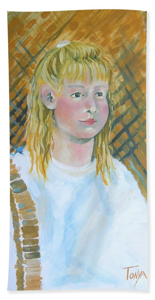 Young Girl Hand Towel featuring the painting Out At The Farm by Tonya Henderson