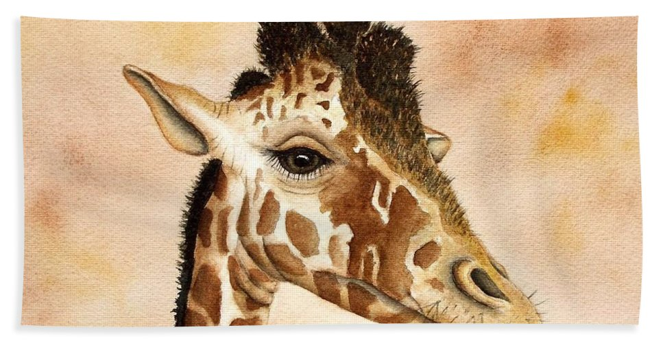 Giraffe Bath Sheet featuring the painting Out Of Africa's Giraffe by Lyn DeLano