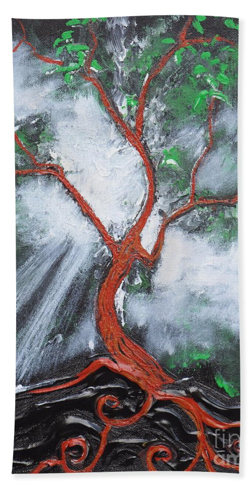 Tree Hand Towel featuring the painting Out Of Darkness by Stefan Duncan