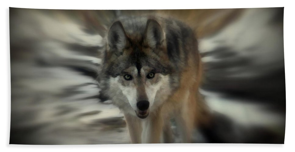 Wolf Hand Towel featuring the photograph Out Of Nowhere 2 by Ernie Echols