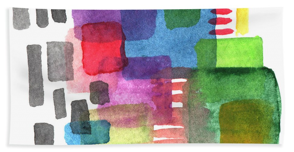 Squares Bath Towel featuring the painting Out Of The Box by Linda Woods
