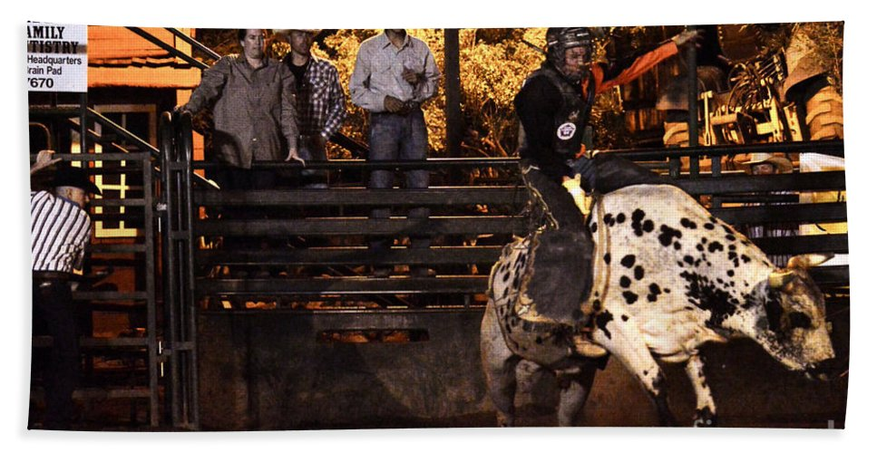 Bull Riding Hand Towel featuring the photograph Out Of The Gate by Tommy Anderson