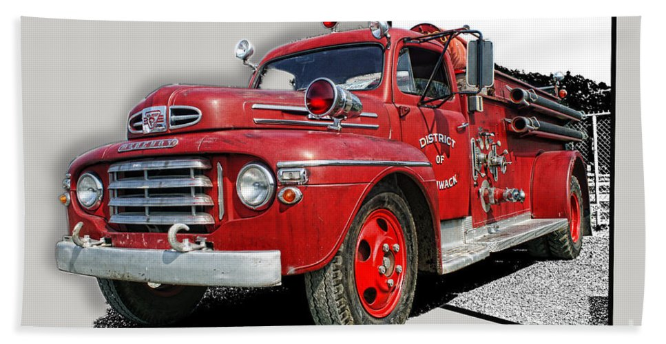 Fire Trucks Hand Towel featuring the photograph Out Of The Photo Fire Truck by Randy Harris