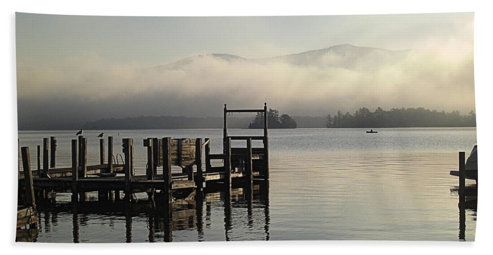 Lake Hand Towel featuring the photograph Out On The Lake by Steve Stones