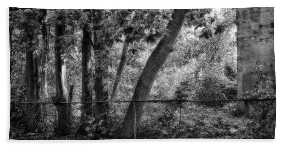 Monochrome Hand Towel featuring the photograph Out The Back Door by John Herzog