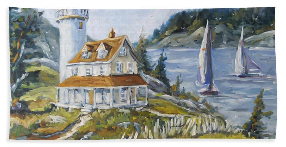 Fleuve St-laurent Hand Towel featuring the painting Out To Sea By Prankearts by Richard T Pranke