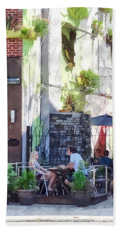 Cafe Hand Towel featuring the photograph Outdoor Cafe Philadelphia Pa by Susan Savad