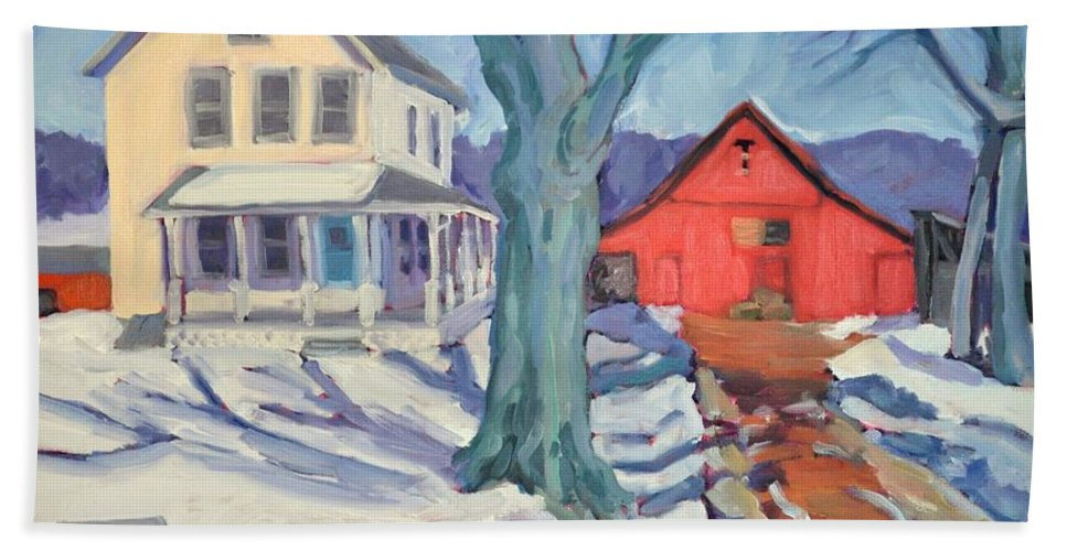 Snow Scene Bath Sheet featuring the painting Outgoing Mail At The Farm by Sylvina Rollins
