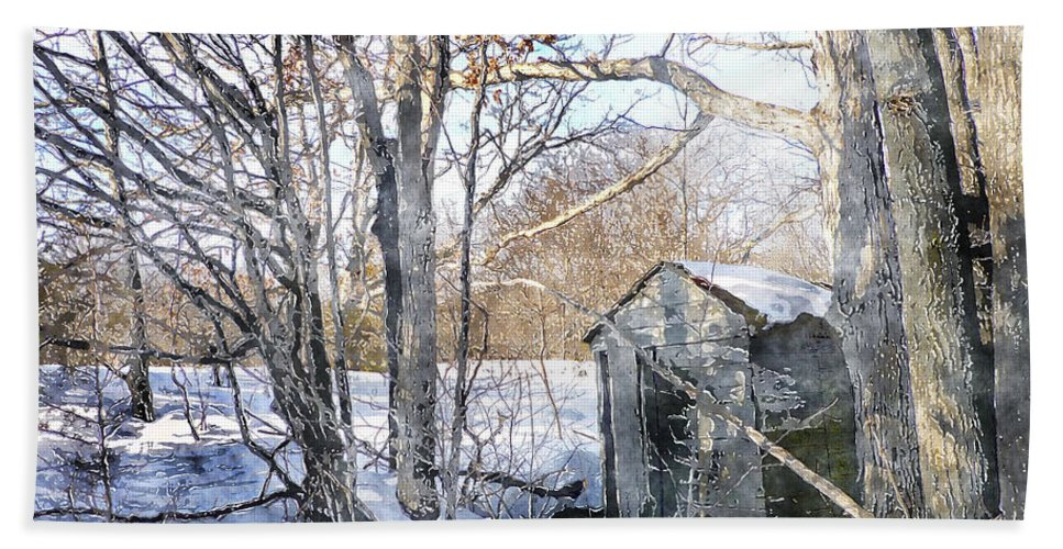 Outhouse Bath Sheet featuring the photograph Outhouse In Winter by Claire Bull