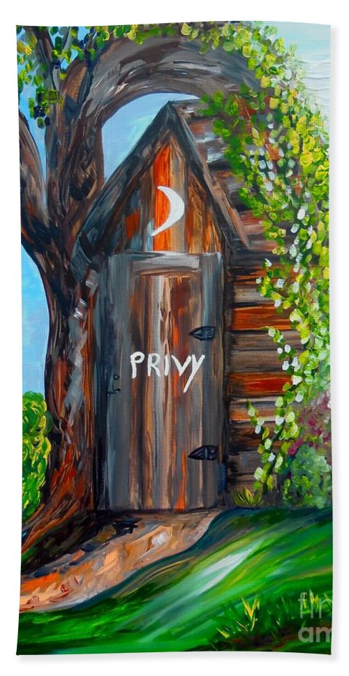 Out House Hand Towel featuring the painting Outhouse - Privy - The Old Out House by Eloise Schneider Mote