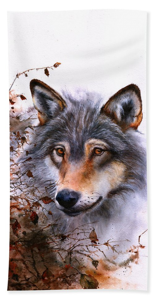 Wolf Hand Towel featuring the painting Outlawed by Peter Williams
