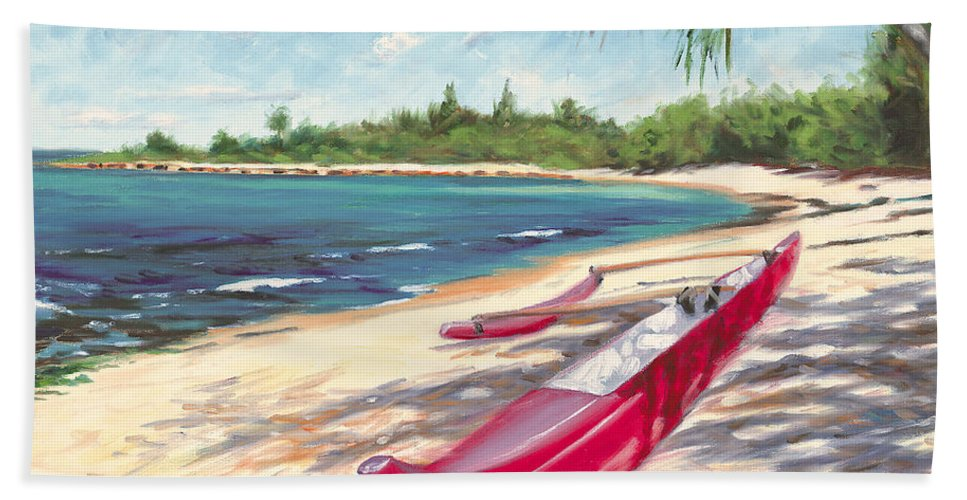 Outrigger Hand Towel featuring the painting Outrigger - Haleiwa by Steve Simon