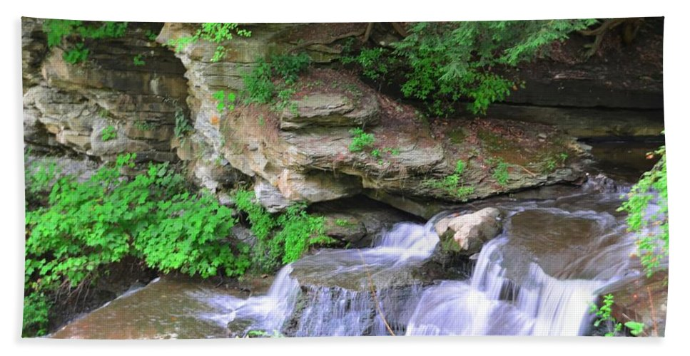 Letchworth Hand Towel featuring the photograph Over Rocks by Kathleen Struckle
