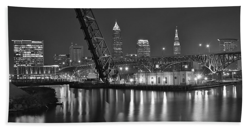 Cleveland Bath Sheet featuring the photograph Over The Cuyahoga by Frozen in Time Fine Art Photography