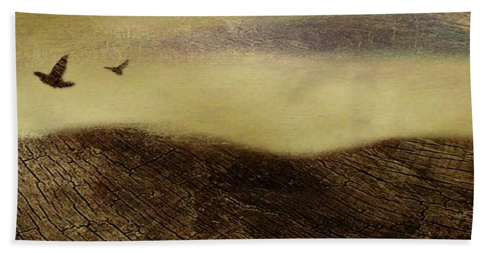 Dark Hand Towel featuring the painting Over The Ridge by Gina Lee Manley