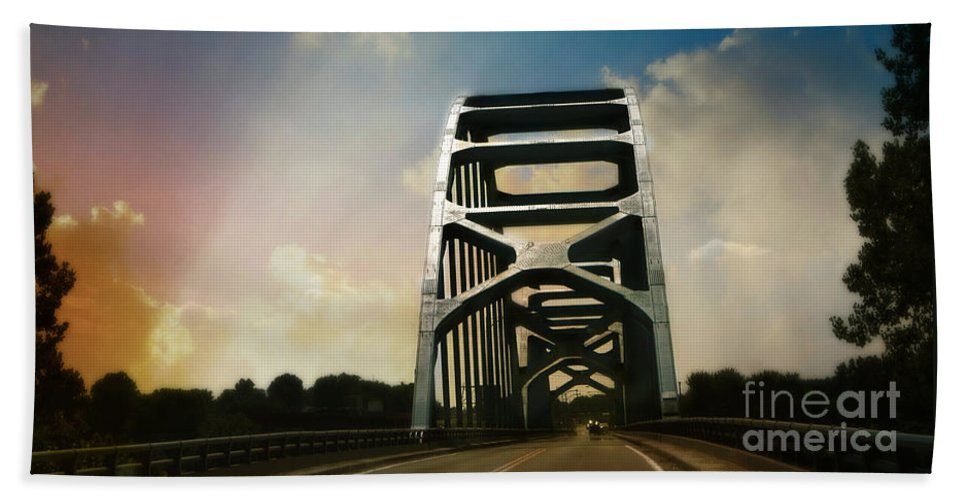 Bridge Bath Sheet featuring the photograph Over Troubled Water by Beth Ferris Sale