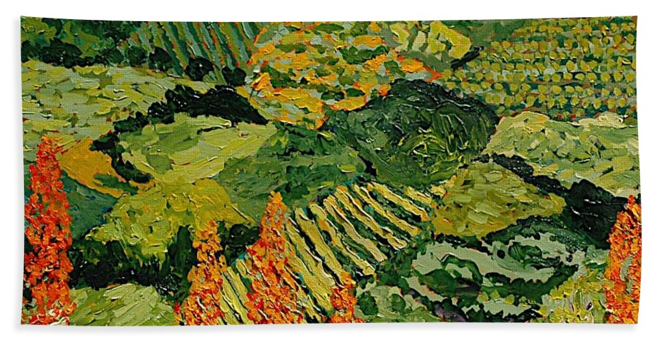 Landscape Bath Towel featuring the painting Overgrown by Allan P Friedlander
