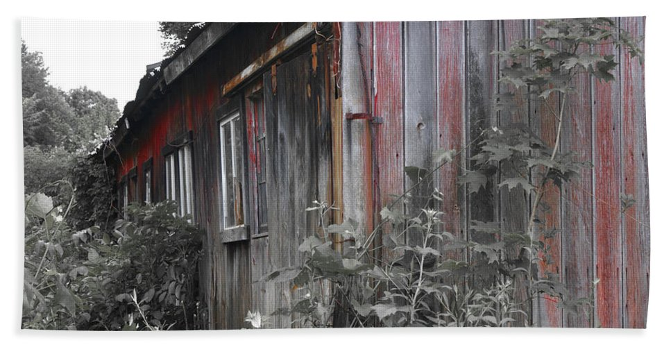 Shed Hand Towel featuring the photograph Overgrown Shed B/w by Ray Konopaske
