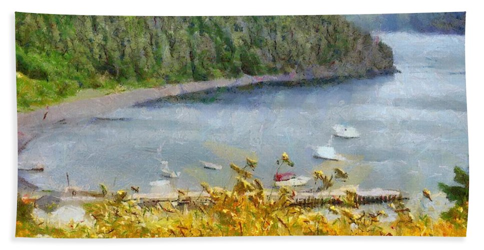 Canadian Bath Towel featuring the painting Overlooking the Harbor by Jeffrey Kolker