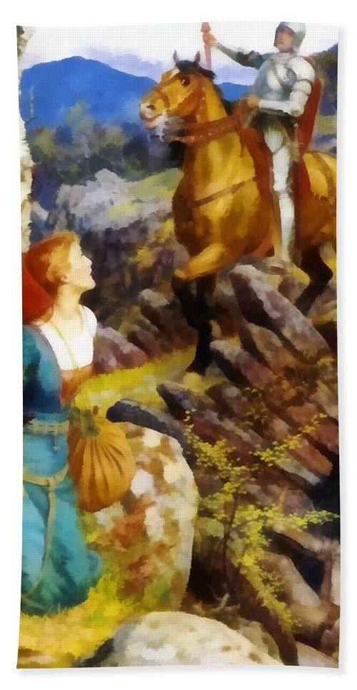 Overthrowing Of The Rusty Knight Bath Sheet featuring the digital art Overthrowing Of The Rusty Knight by Arthur Hughes