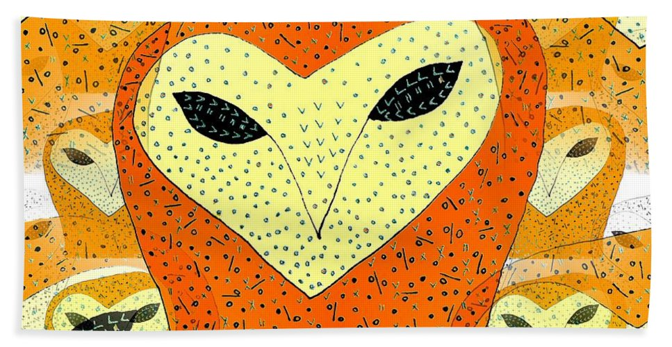 Owl Hand Towel featuring the drawing owl by Barbara Moignard