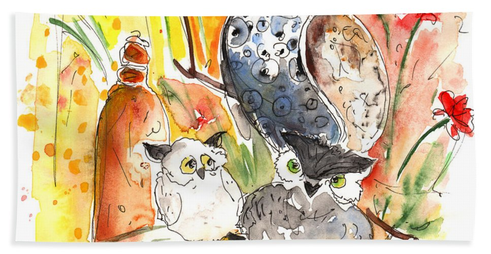 Animals Bath Sheet featuring the painting Owl Family In Velez Rubio by Miki De Goodaboom