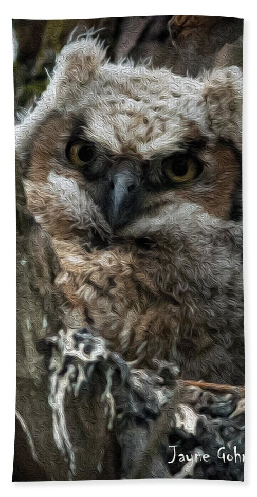 Great Horned Owl Bath Sheet featuring the photograph Owlet On The Watch by Jayne Gohr
