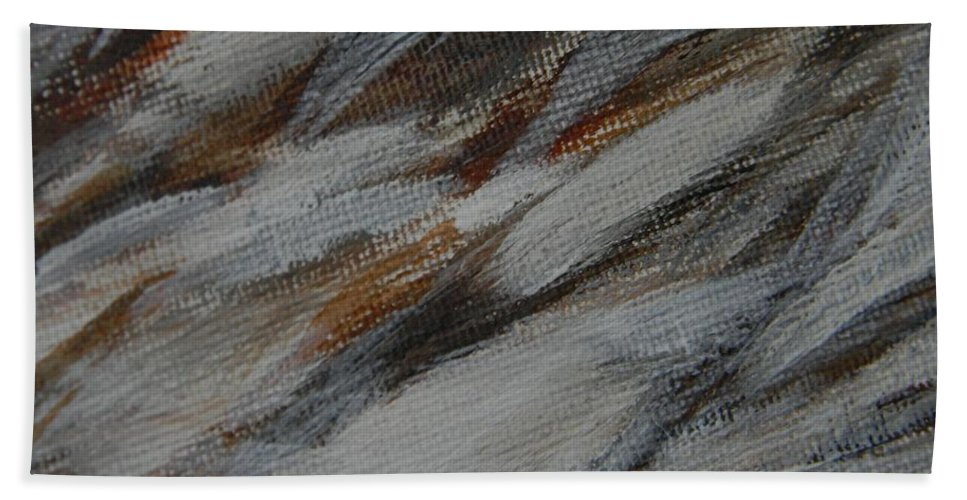 Abstract Bath Sheet featuring the painting Owl Feathers by Owl's View Studio