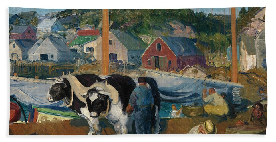 George Bellows Bath Sheet featuring the painting Ox Team. Wharf At Matinicus by George Bellows