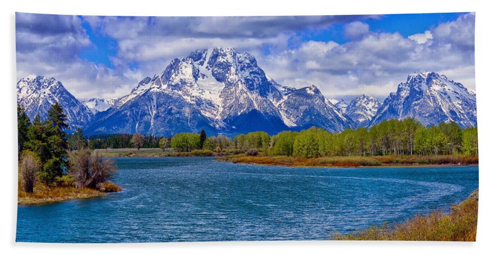 Oxbow Bend Bath Sheet featuring the photograph Oxbow Bend In Spring by Greg Norrell