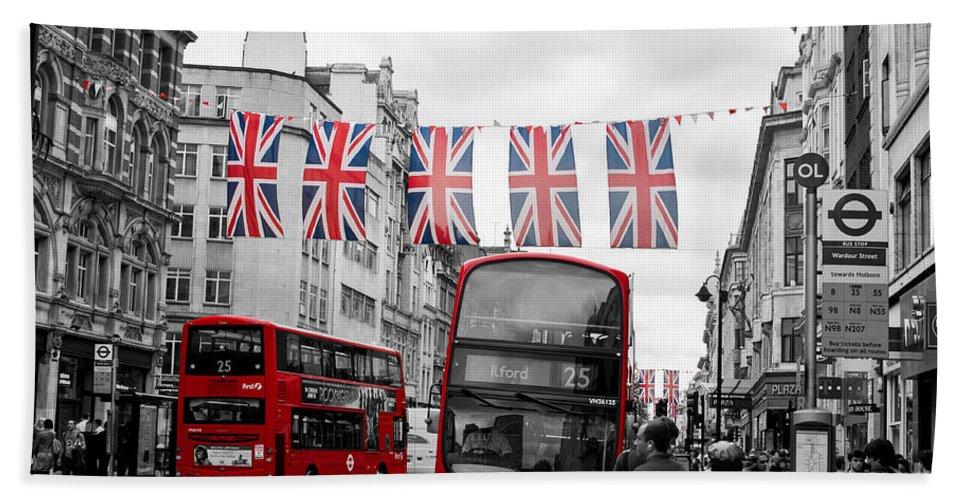 Street Hand Towel featuring the photograph Oxford Street Flags by Matt Malloy