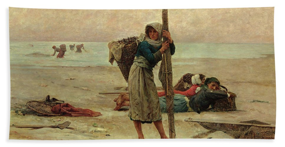 Beach Hand Towel featuring the painting Oyster Catching by Pierre Celestin Billet