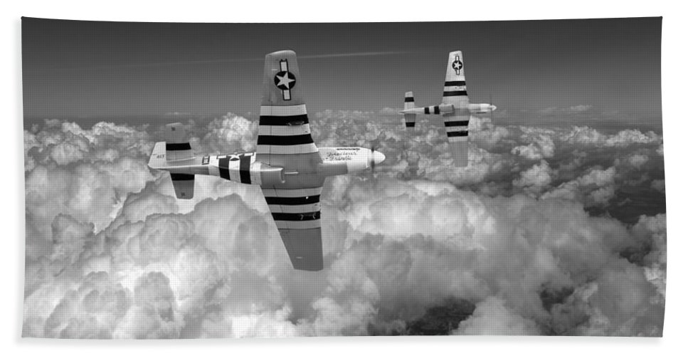 Mustang Bath Sheet featuring the photograph P-51 Mustangs Black And White Version by Gary Eason