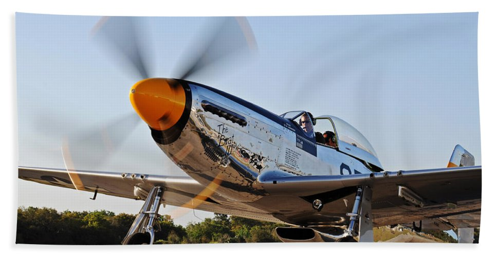 P51 Hand Towel featuring the photograph P51 The Brat by David Hart