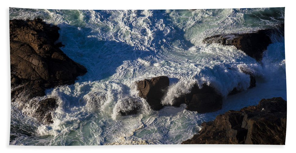 Gorgeous Bath Sheet featuring the photograph Pacific Ocean Against Rocks by Garry Gay