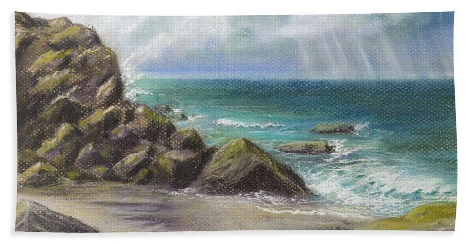Seascape Beach Ocean Pacific Storm Waves Rocks Sand Landscape Aqua Nature Laguna Beach Aliso Hand Towel featuring the pastel Pacific Splendor by Brenda Salamone