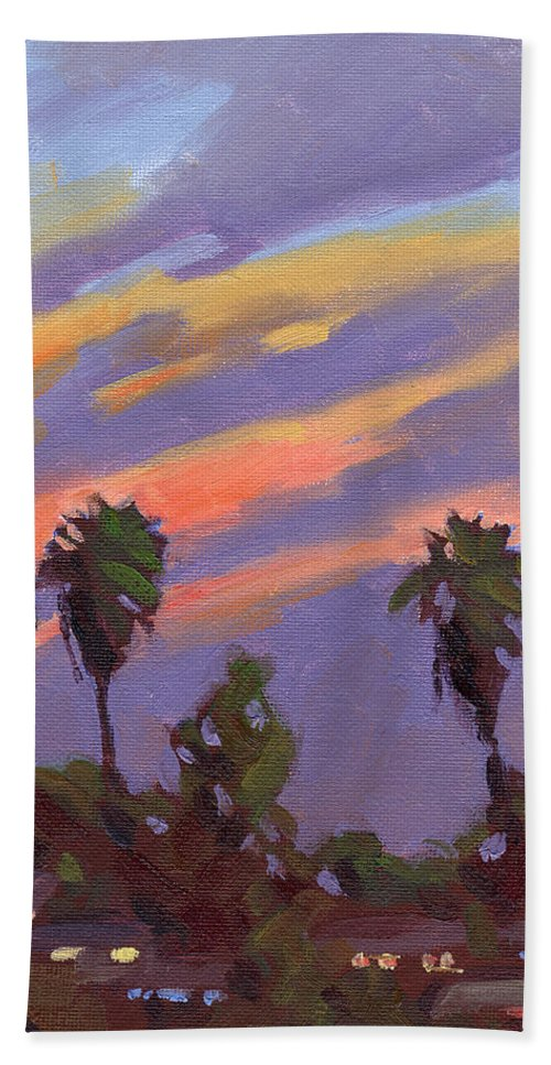 Sunset Bath Towel featuring the painting Pacific Sunset 1 by Konnie Kim