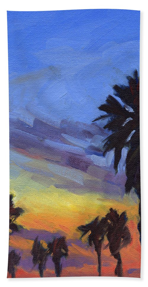 Sunset Bath Towel featuring the painting Pacific Sunset 2 by Konnie Kim