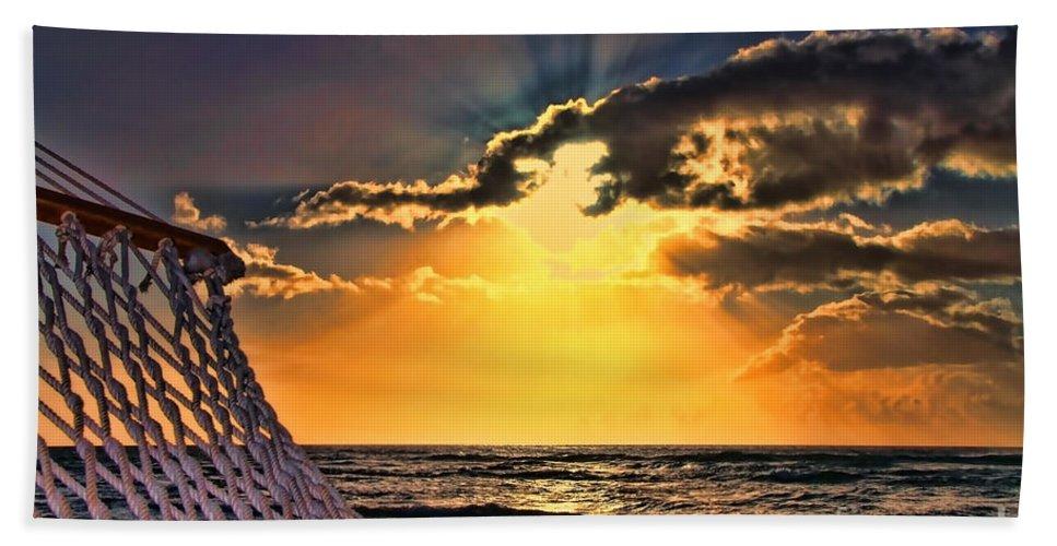 Sunset Bath Sheet featuring the photograph Pacific Sunset By Diana Sainz by Diana Raquel Sainz